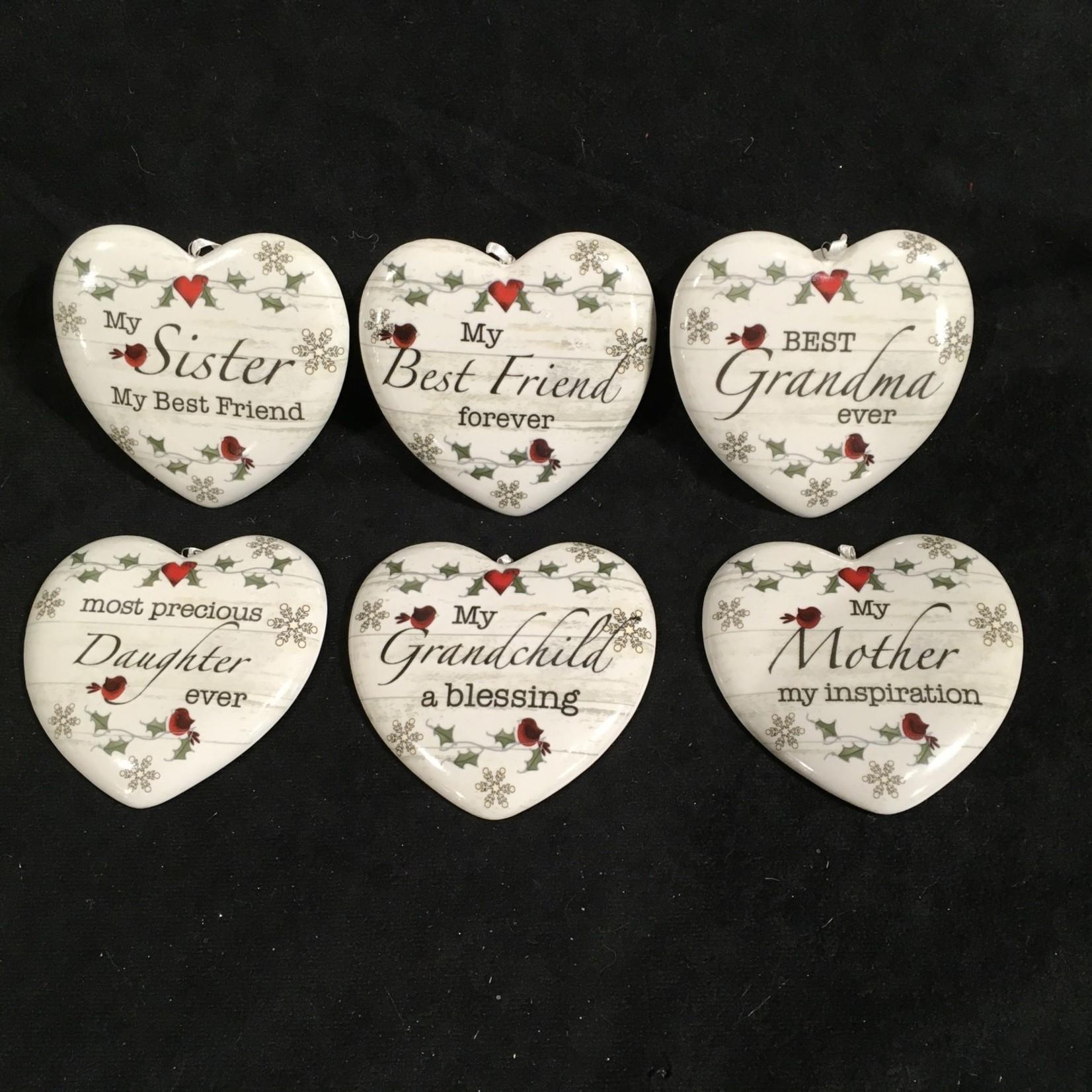 """3.5"""" Porcelain Heart w/Sentiment Orn. 6A"""