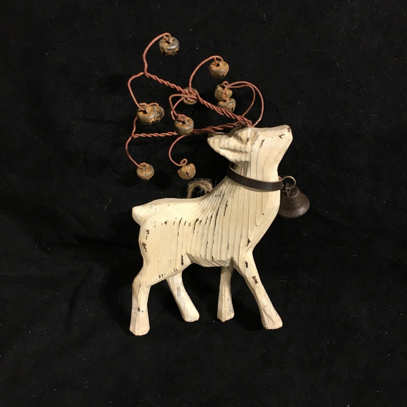 **Natural Reindeer Ornament w/Bells