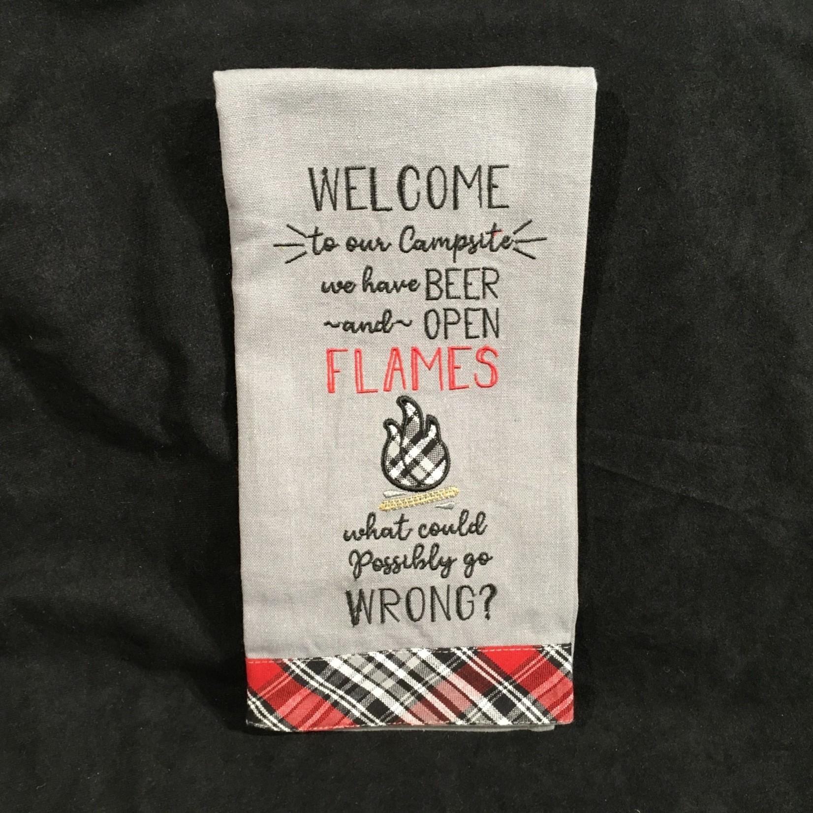 **Beer & Open Flame Tea Towel