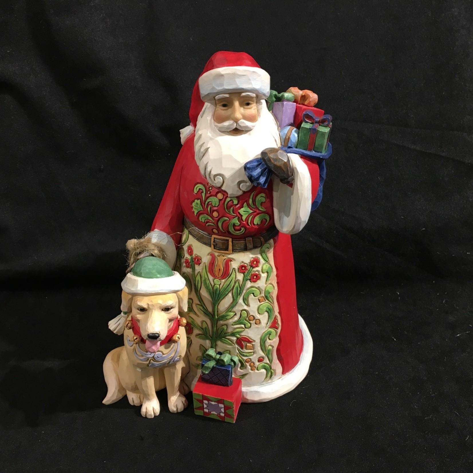 """Jim Shore - 9"""" Santa w/Dog"""