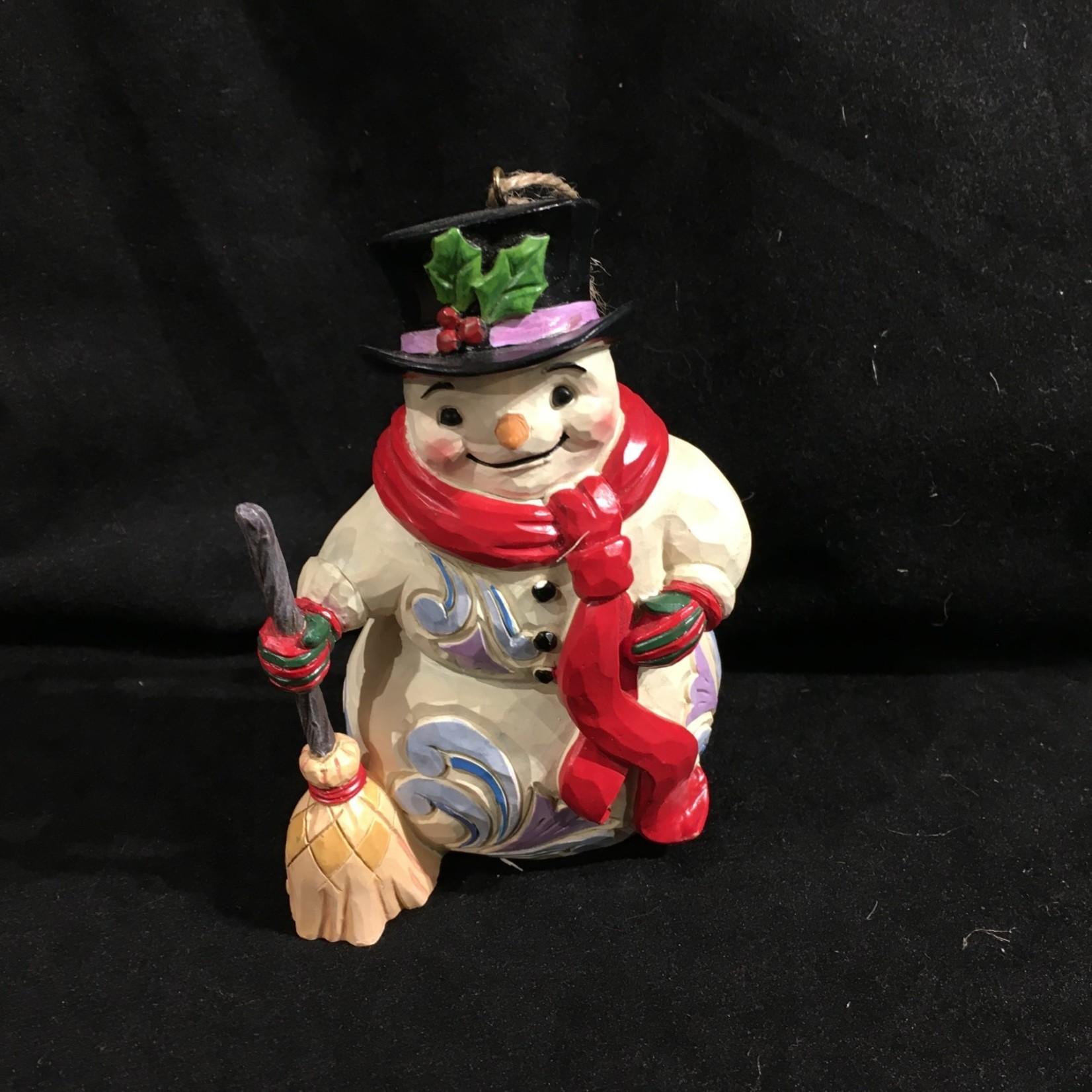 """Jim Shore - 4.5"""" Snowman w/Long Scarf Orn"""