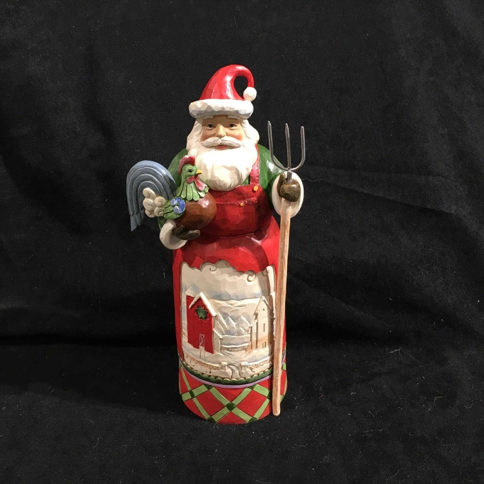 "Jim Shore - 9"" Santa w/Farm Scene"