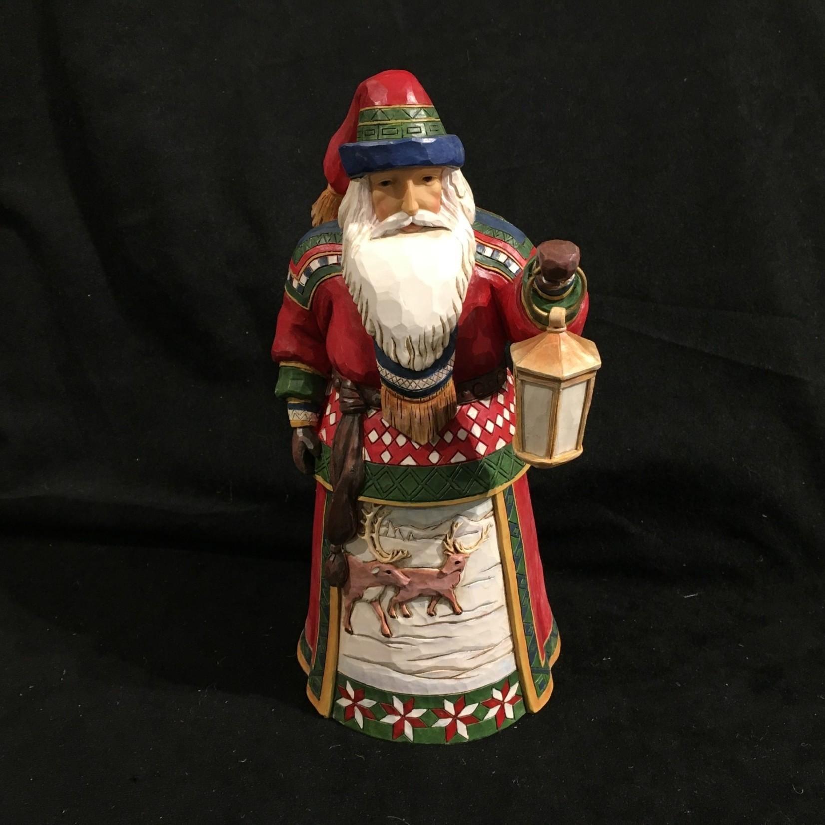 "Jim Shore - 10"" Lapland Santa w/Lantern"