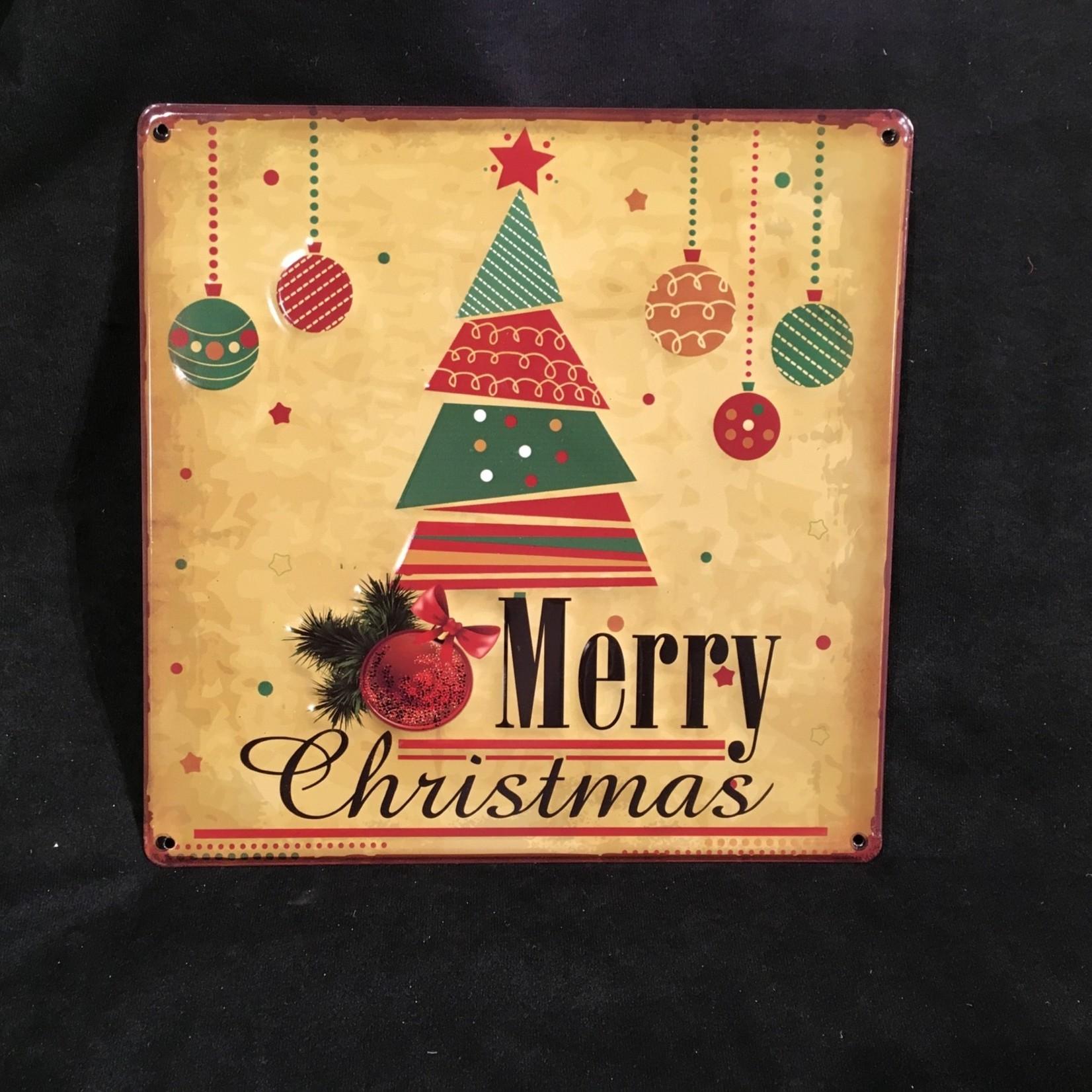 "11.75x12"" Merry Christmas Sign w/Tree"