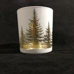 """4"""" White Candleholder w/Trees (Med)"""