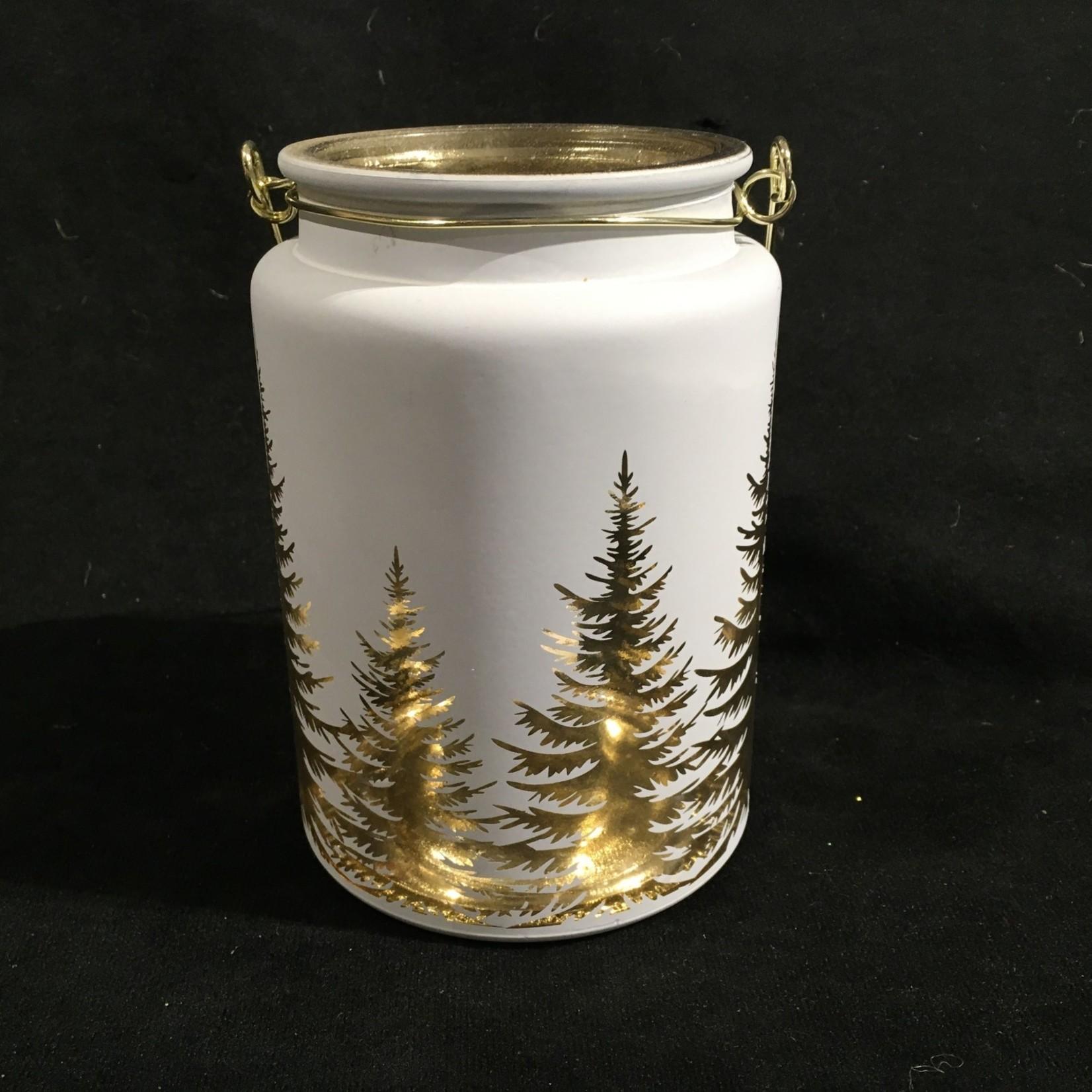 """6"""" White Jar w/Trees"""