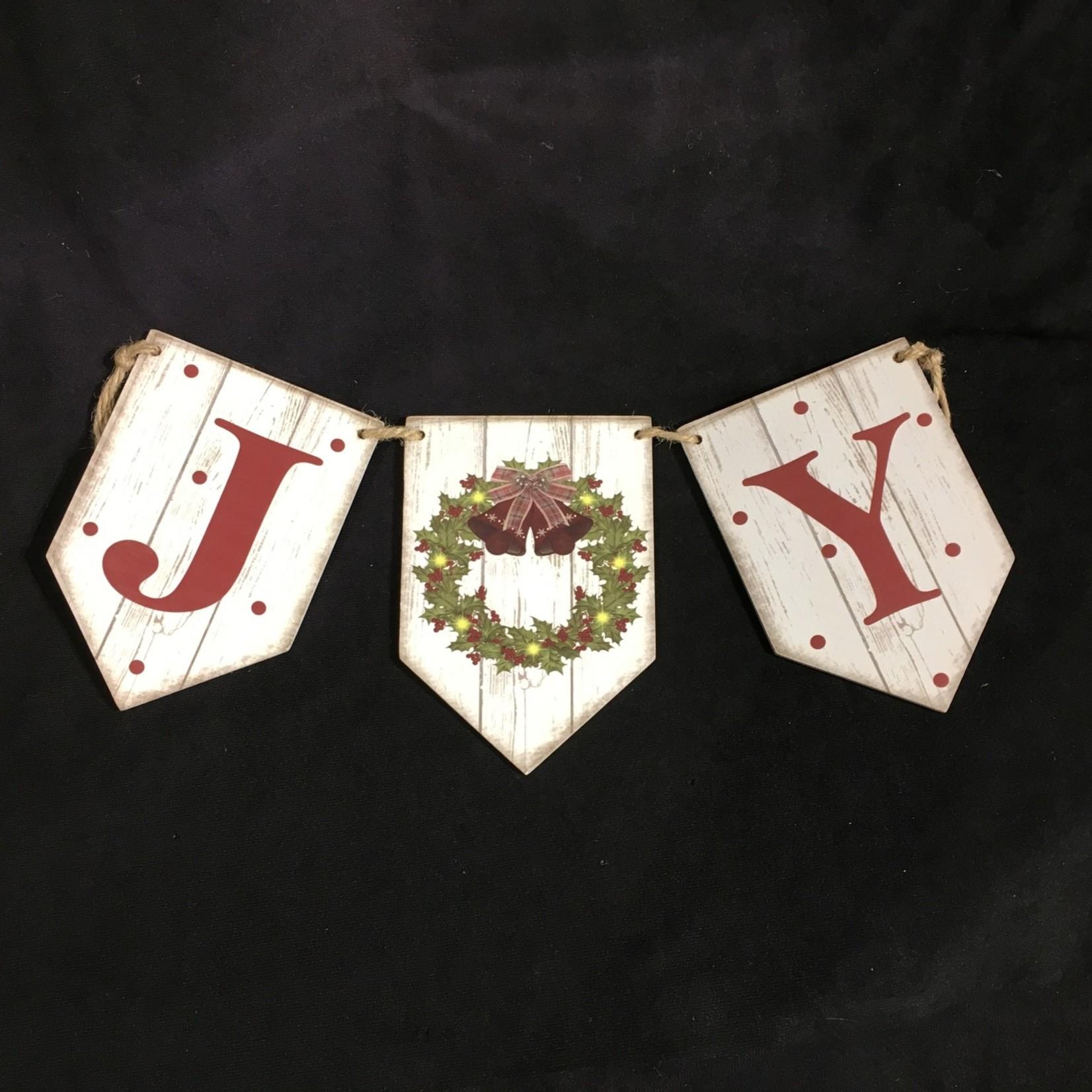 "**18"" Joy Banner w/Wreath"