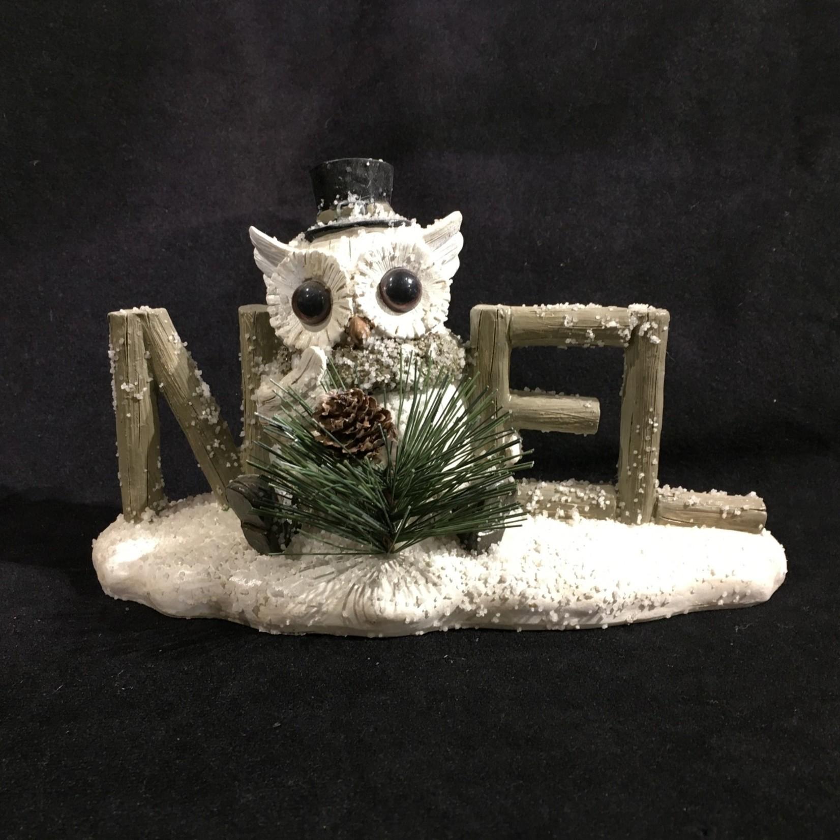 "8x5"" Noel Snowy Owl Word Block (no box)"