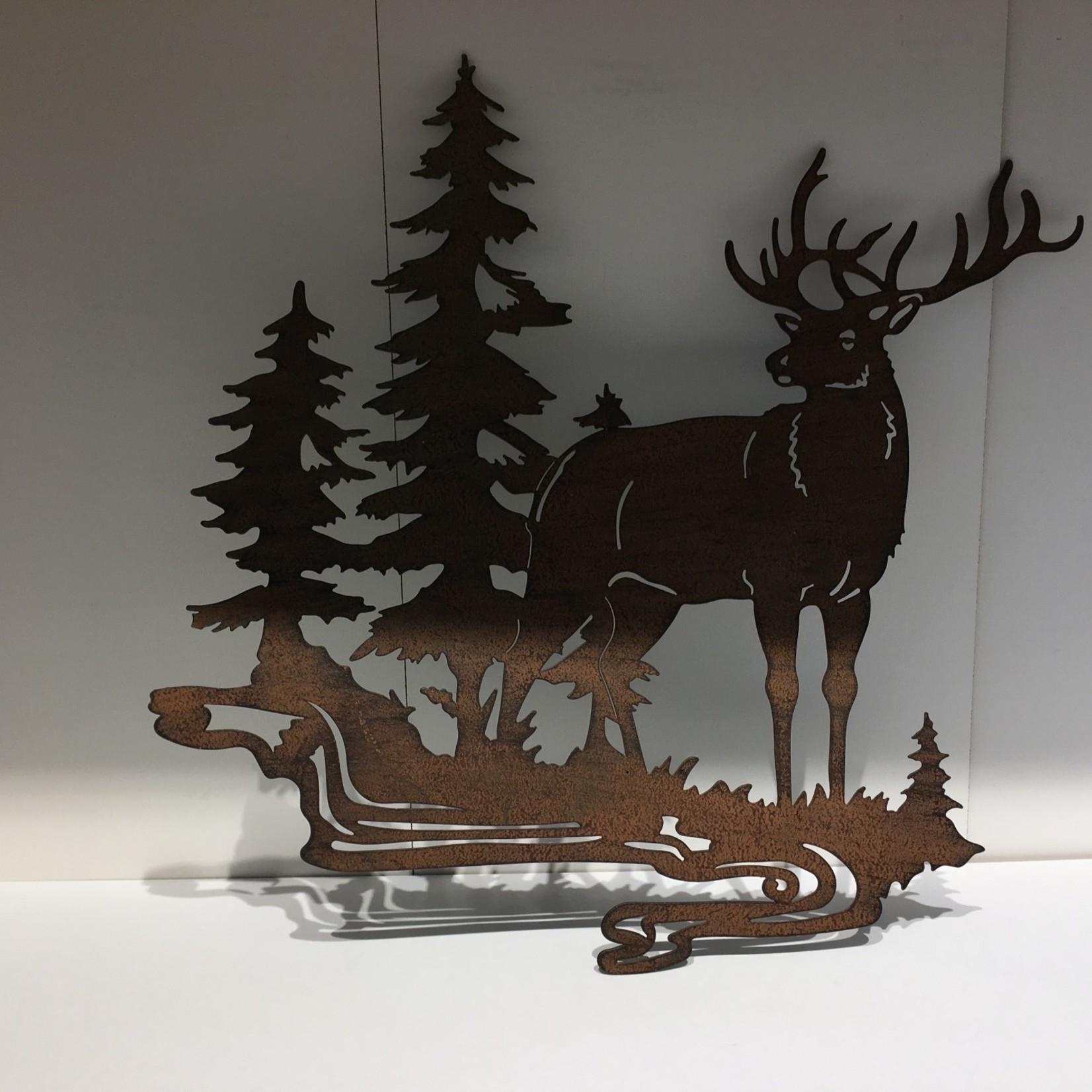 "12.5x12"" Metal Stag w/Trees"