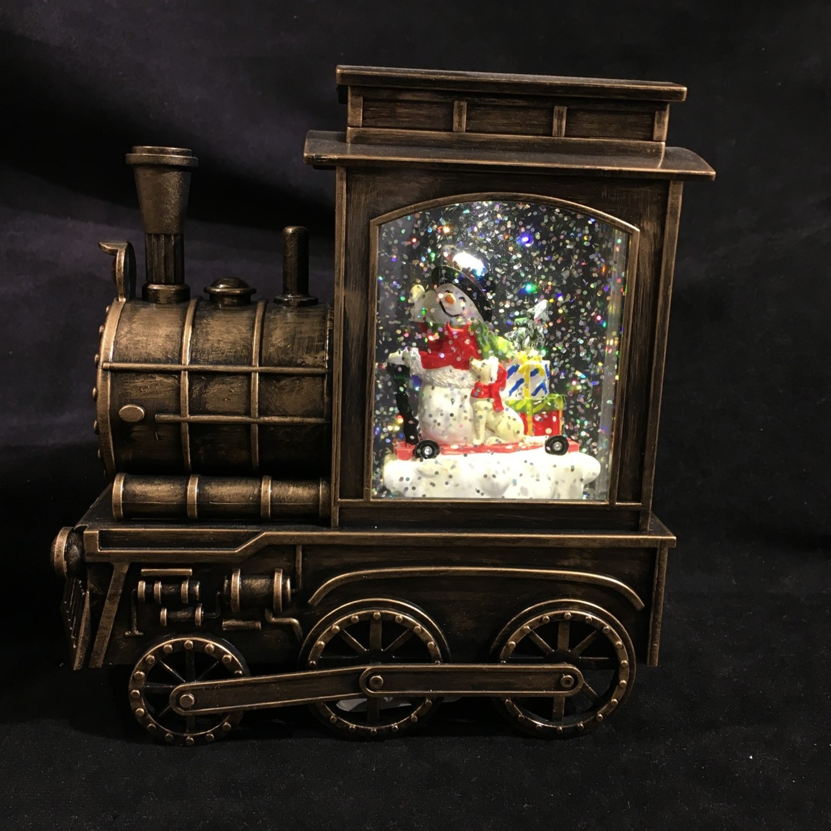 """6.75"""" Snowman in Lighted Train"""