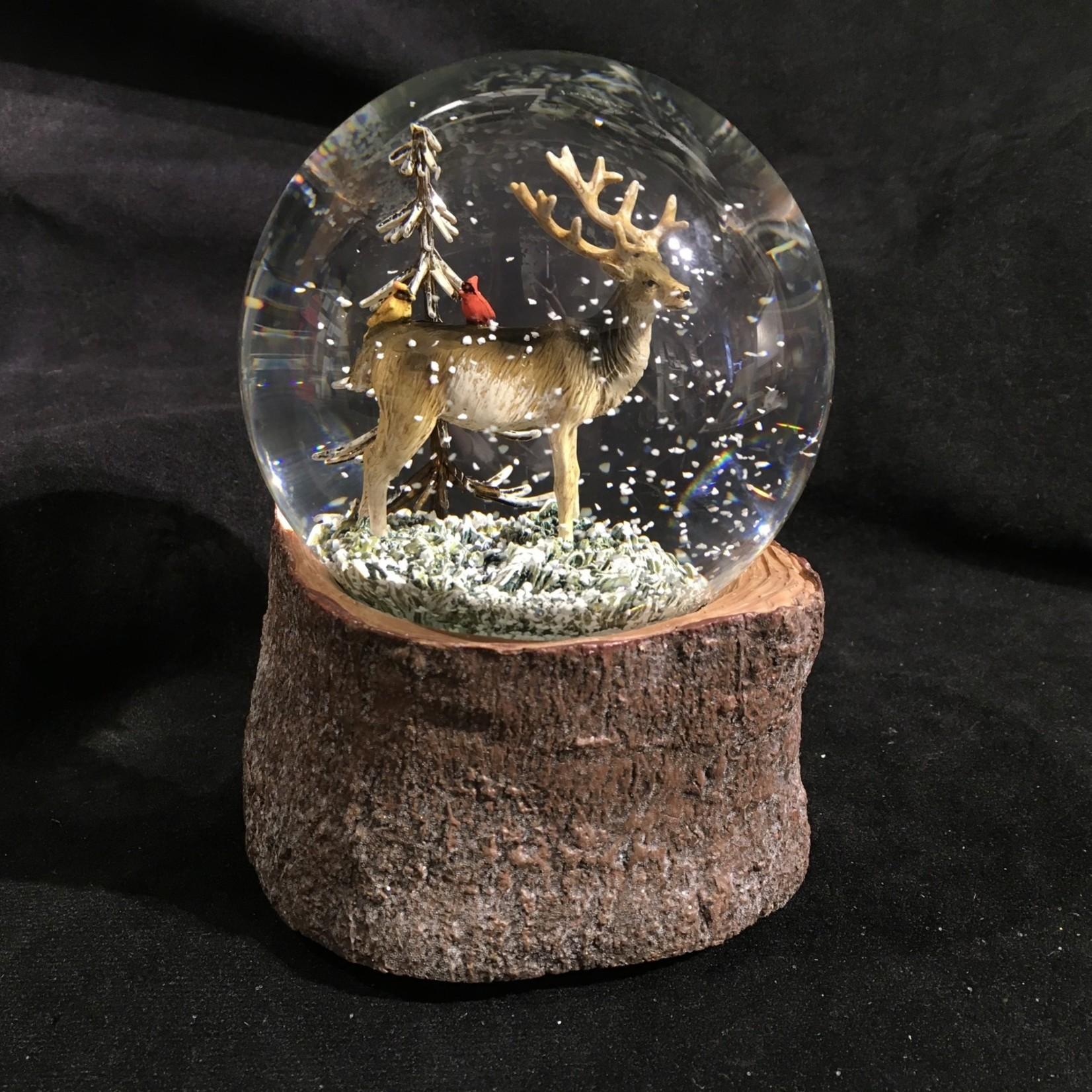 "5.75"" Deer w/Cardinals Water Globe Musical"