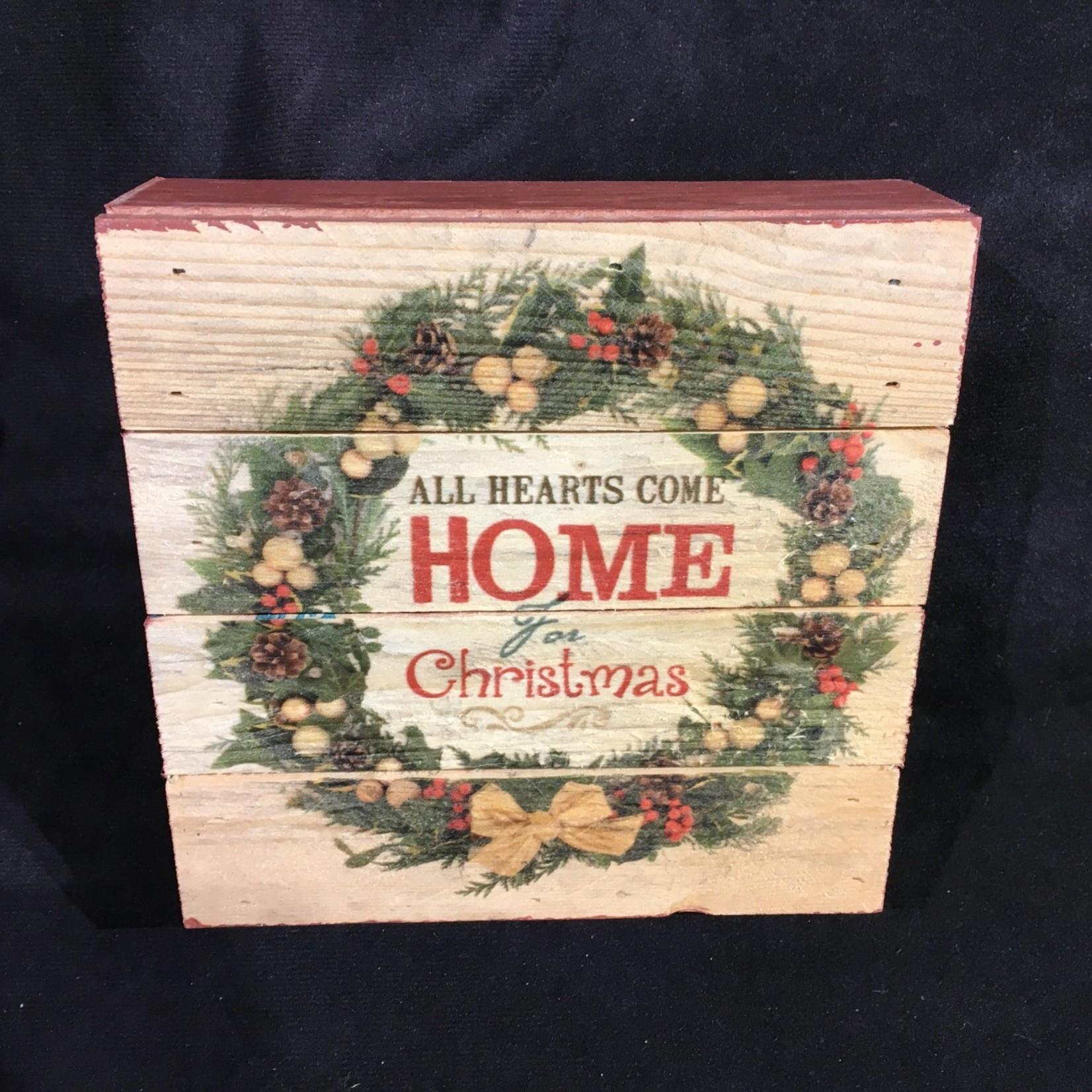"""Home For Christmas Box Sign 6x6"""""""