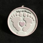 Baby Footprints Orn. - Pink
