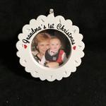 "Grandma's 1st Christmas Frame/Orn. (2x2"" photo)"