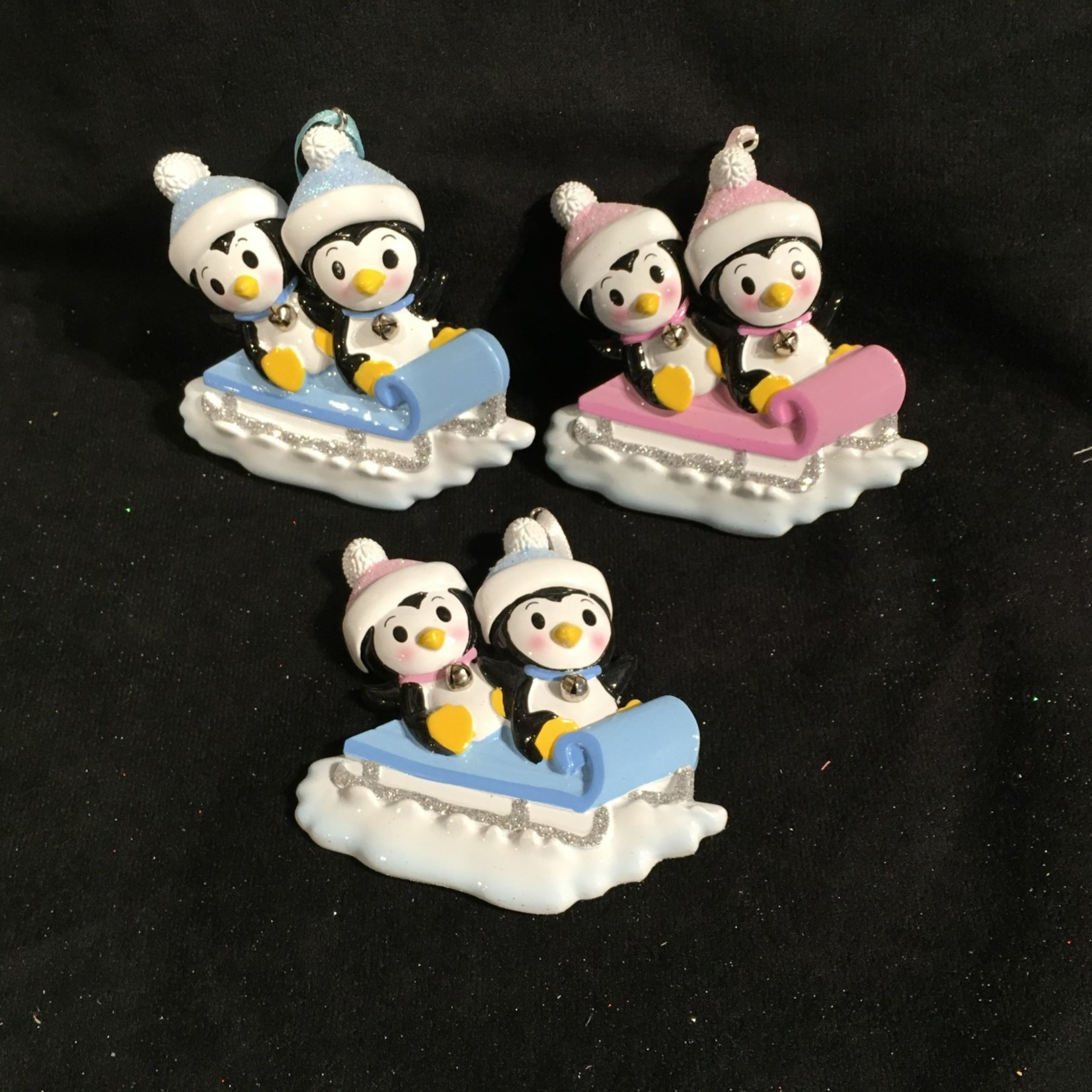 Twin Baby Penguins on Sled Orn 3A