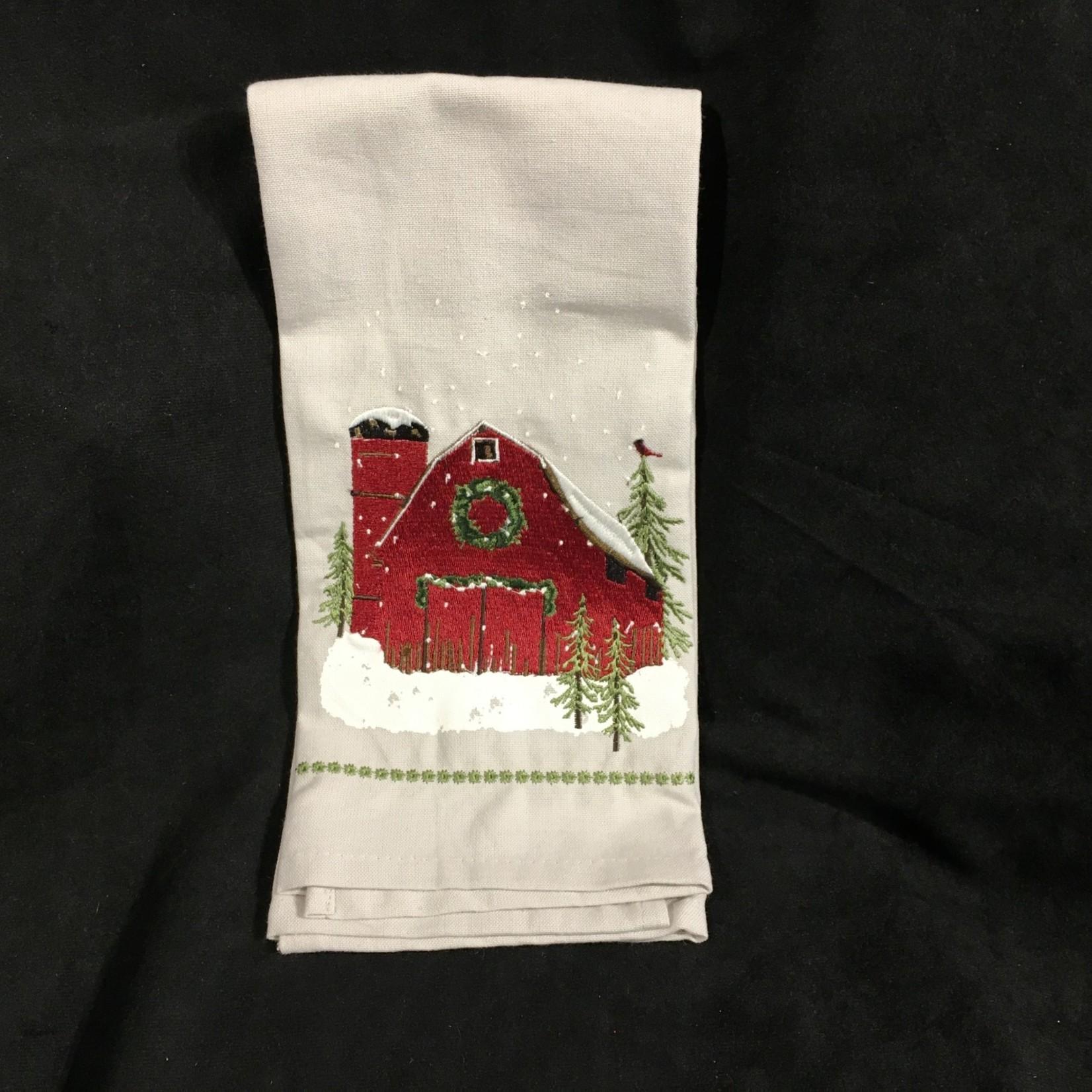 **Barn Christmas Tea Towel