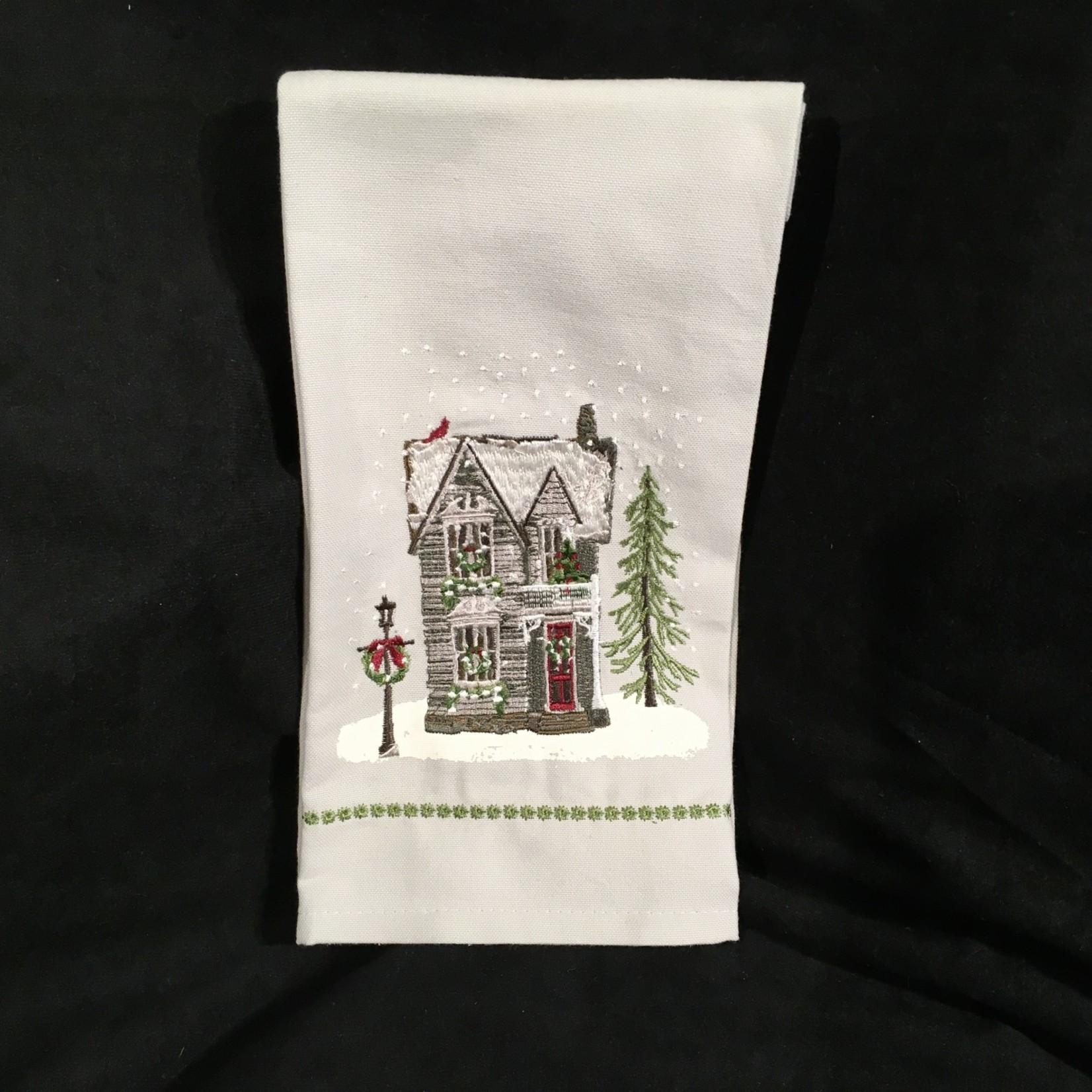 House Embroidered Tea Towel
