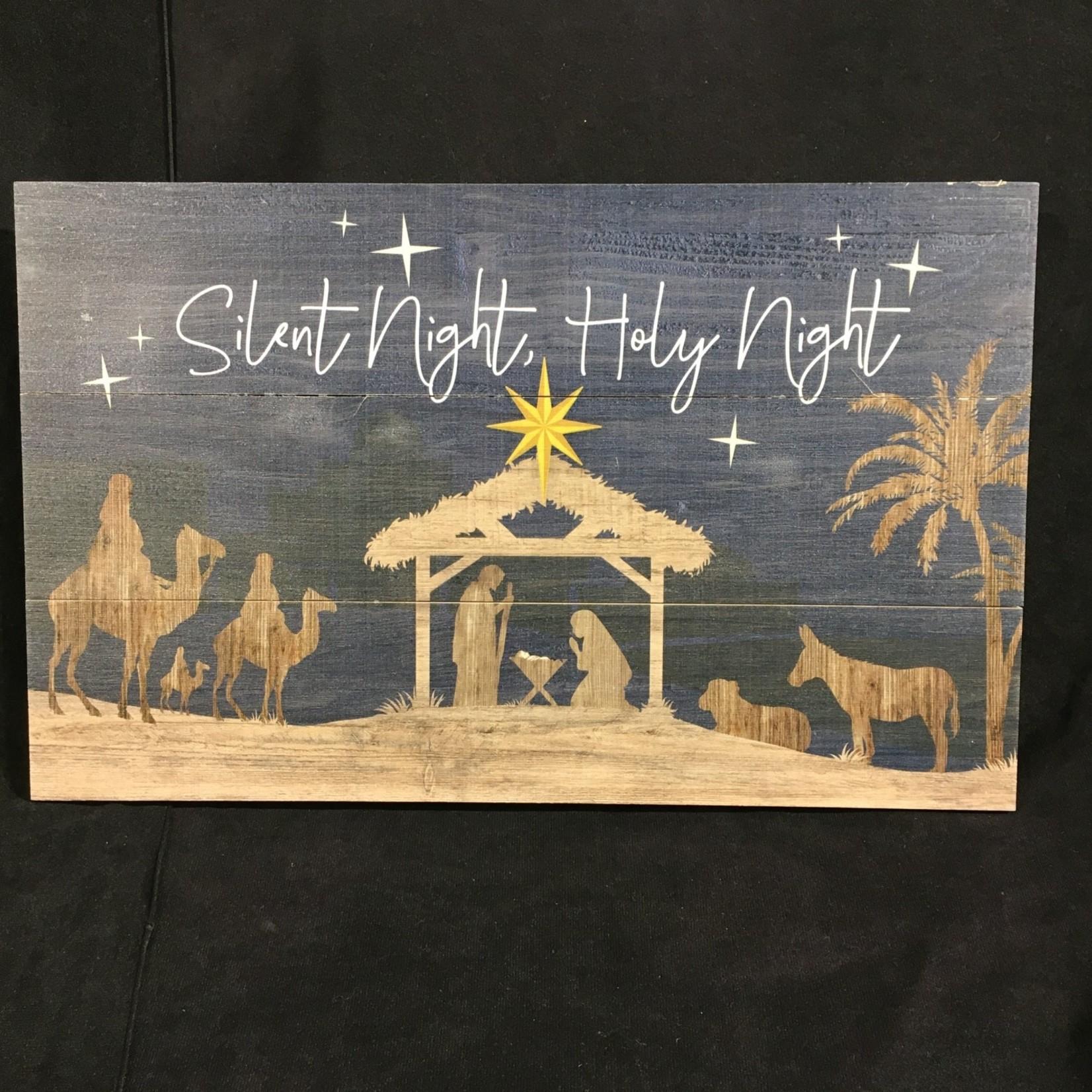"Panel Sign - Silent Night, Holy Night (17x10.5"")"