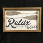 """Relax You're At the Lake Framed Sign (17.75x11.5"""")"""