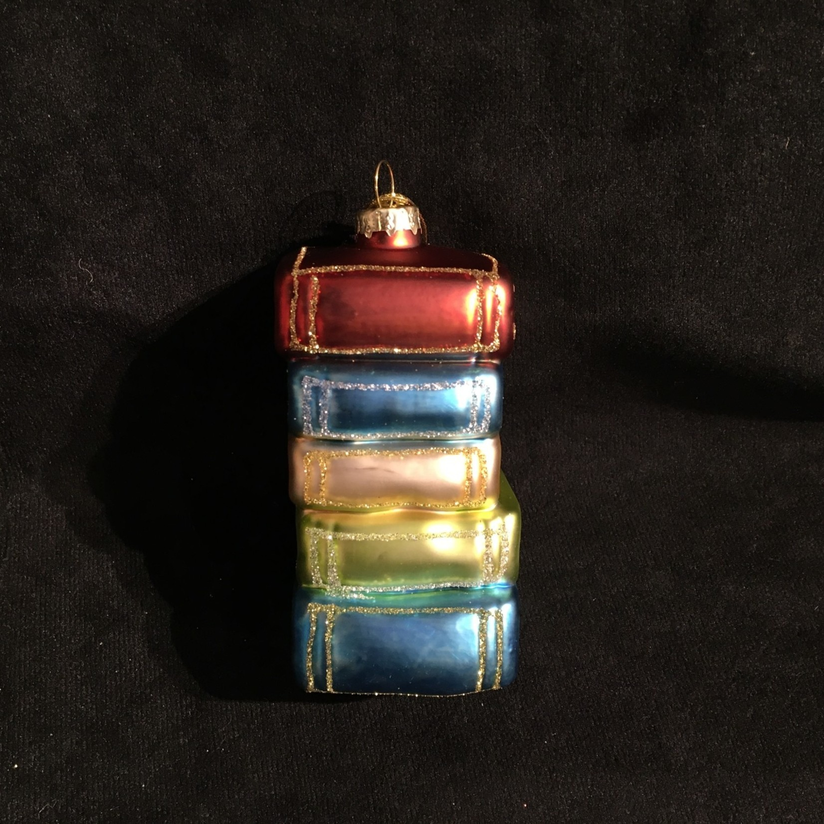 """3.5"""" Glass Stack of Books Orn."""