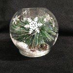 "4"" Glass Pine Bough & Snow Votive"