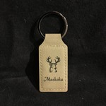 Faux Leather Keychain - Tan