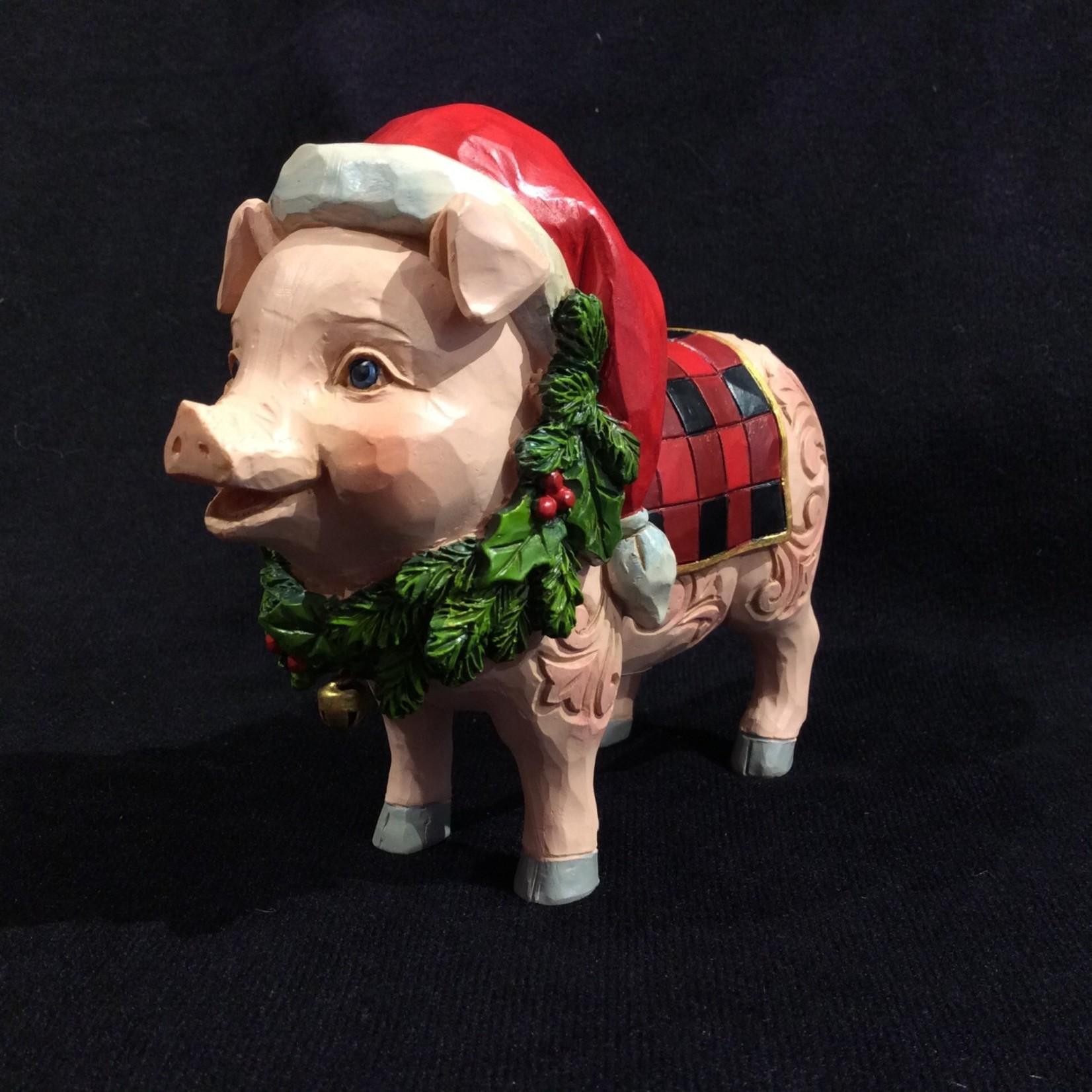 "Jim Shore - Country Christmas Pig (4.5 x4"")"