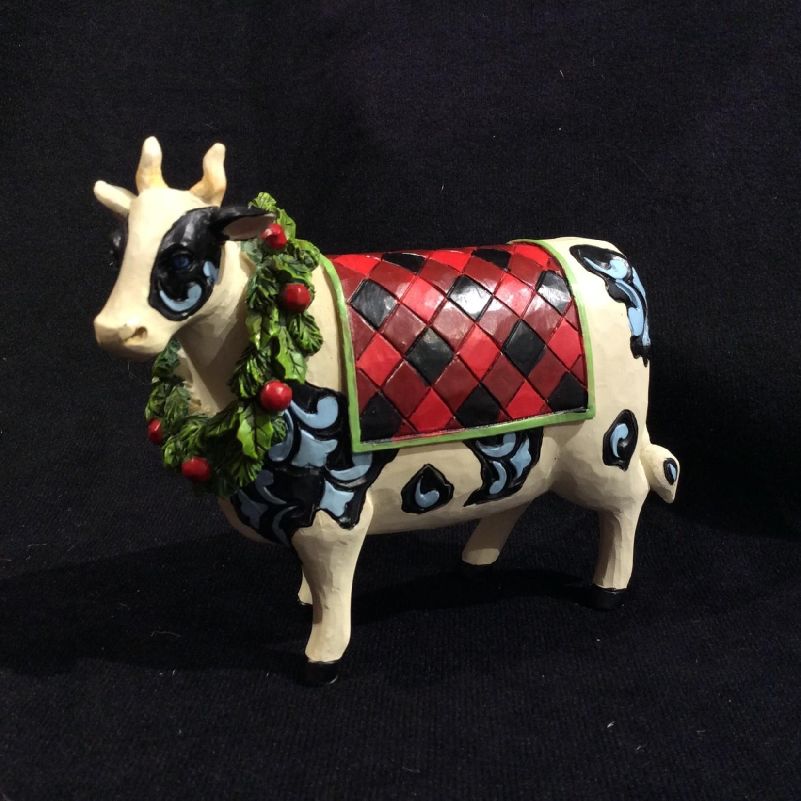 "Jim Shore - Country Christmas Cow (4.75 x 4.25"")"