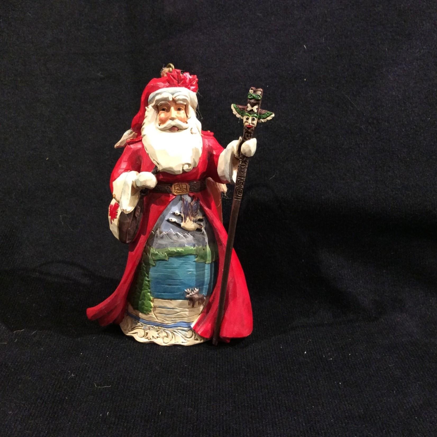 """Jim Shore -4.5"""" Canadian Santa w/Cross Orn"""