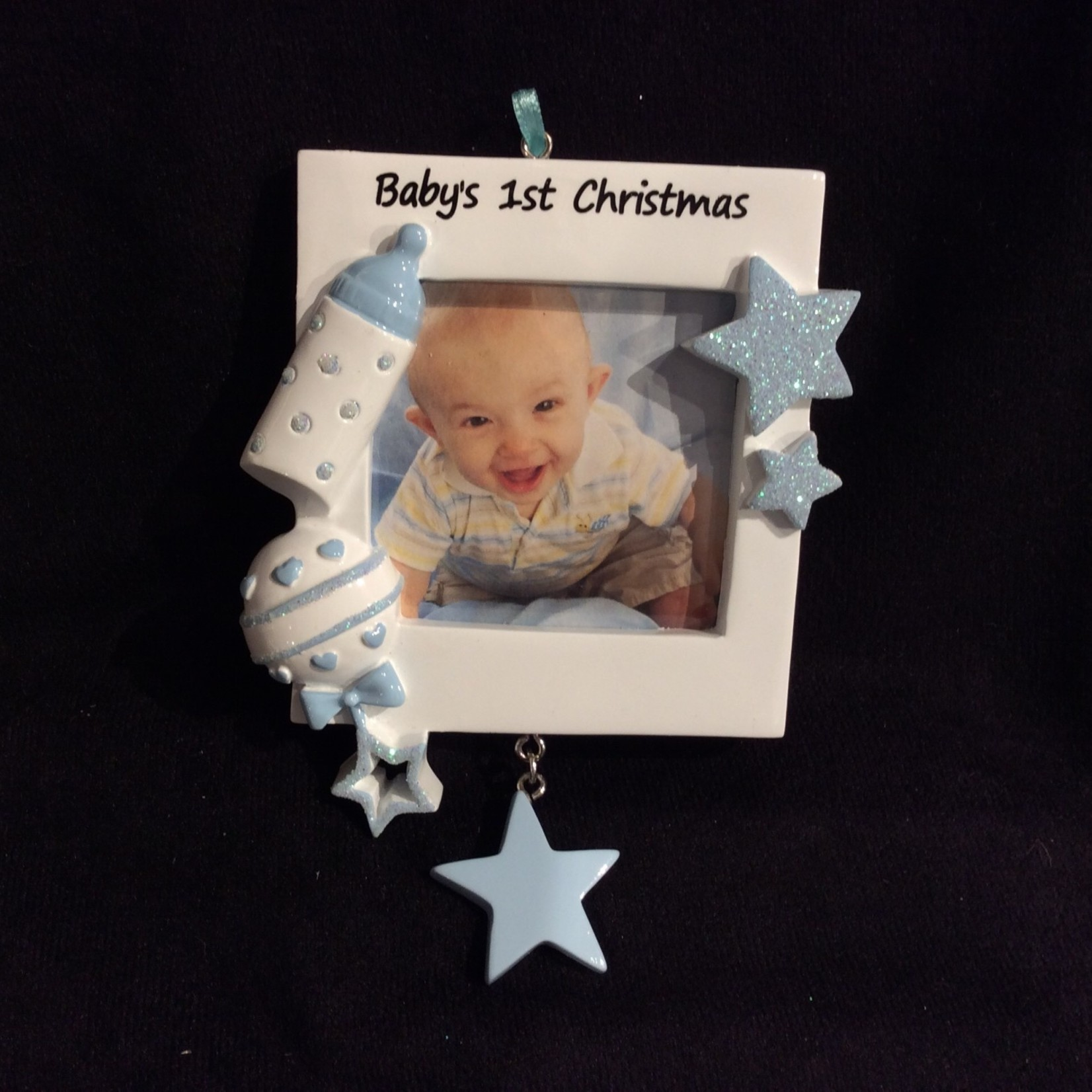 """Baby's First Photo Frame Orn - Blue (2.25x2.25"""" Photo)"""