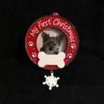 """Dog Photo - 1st Christmas Orn. (2x2"""" Photo)"""