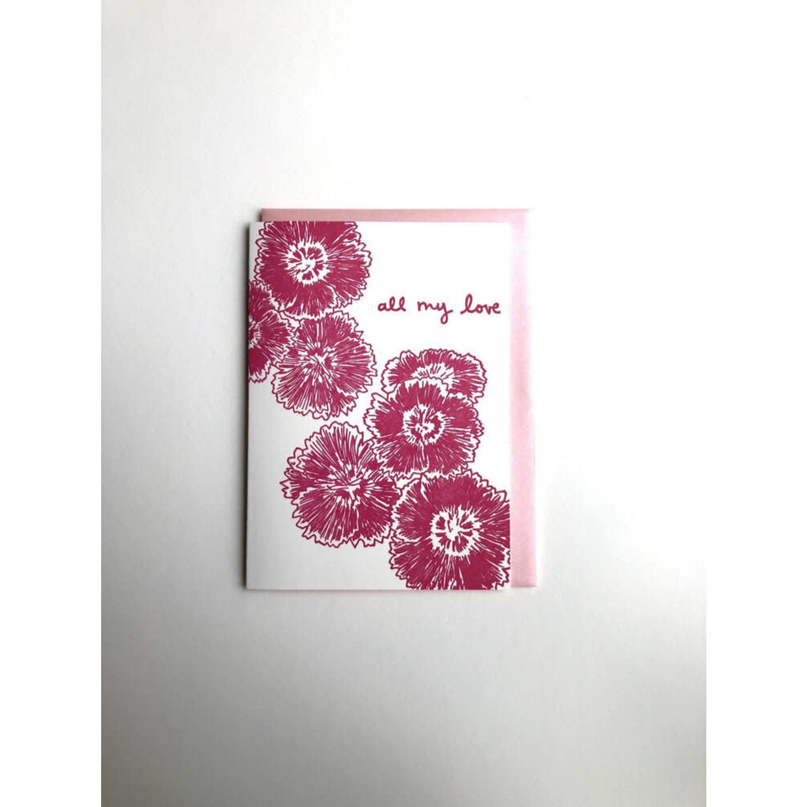 Macon York Press Dianthus All My Love Card