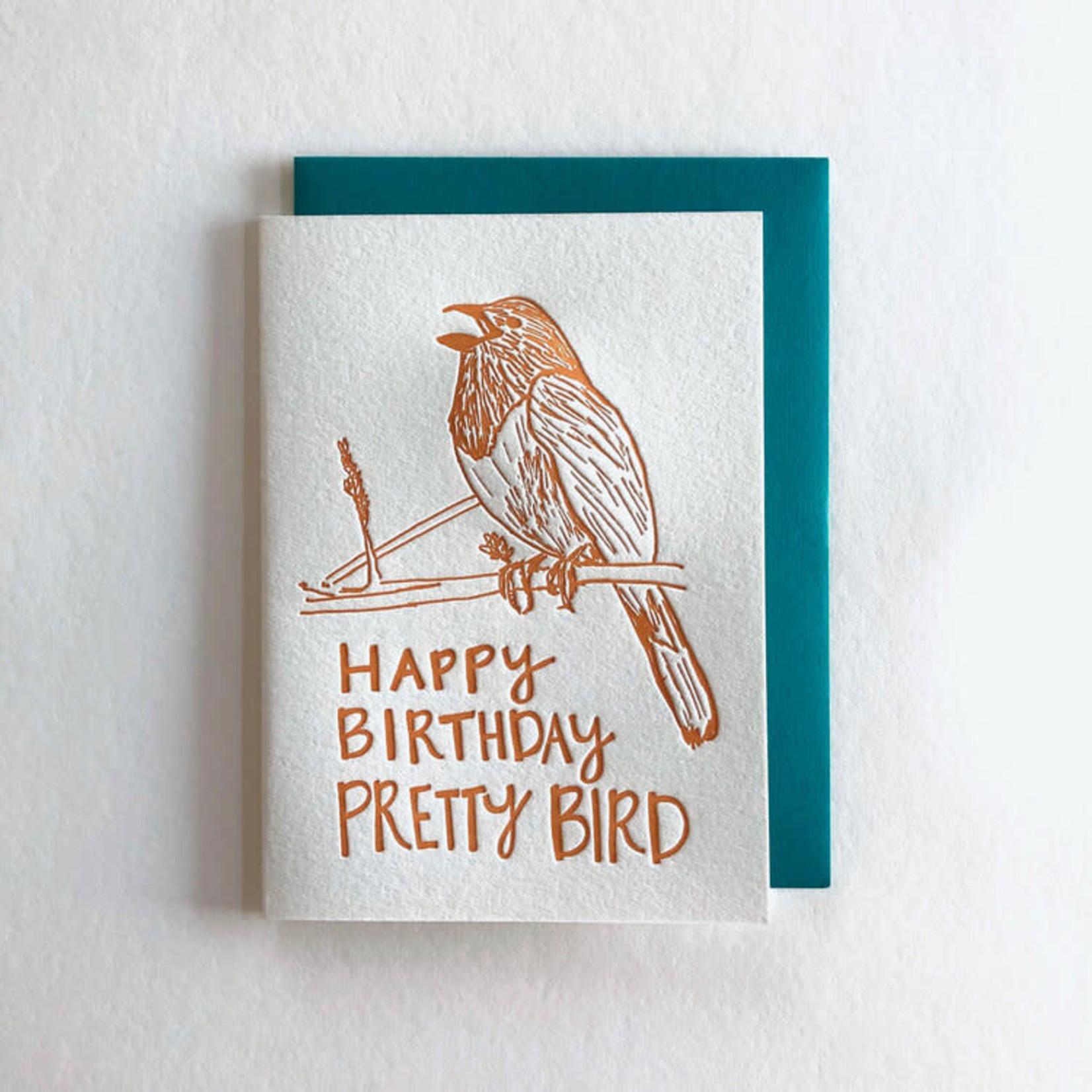 Macon York Press Pretty Bird Birthday Card