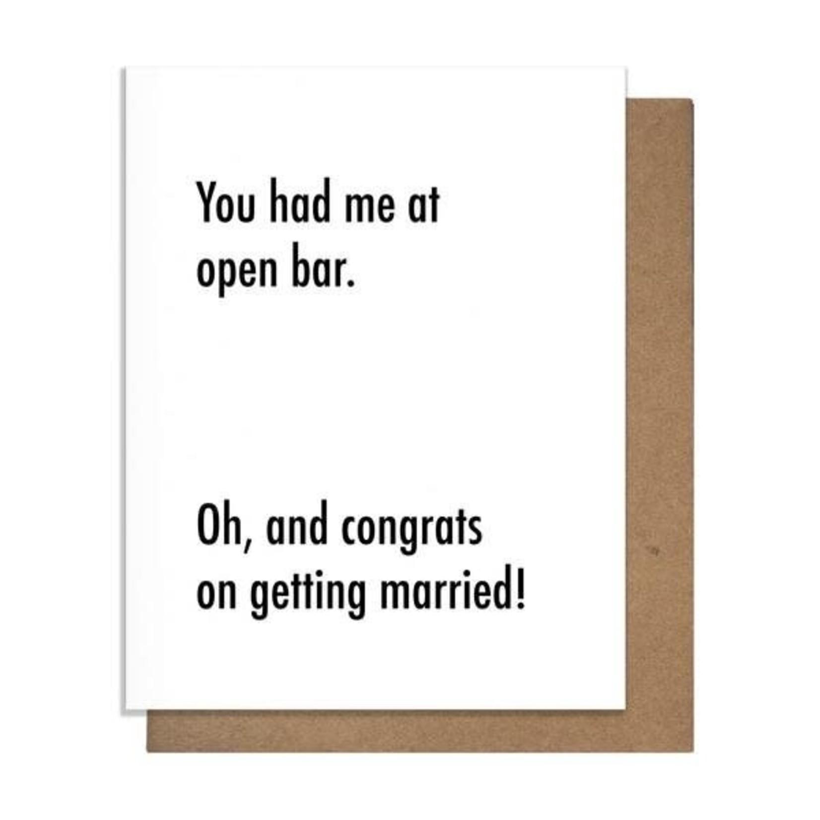 Pretty Alright Goods Open Bar Card