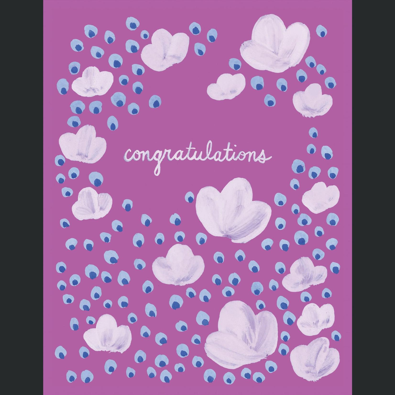 TYLRE Congrats Blue Dot Flowers Card