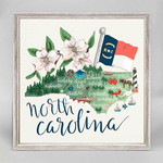 NC State Map Rustic Framed Canvas