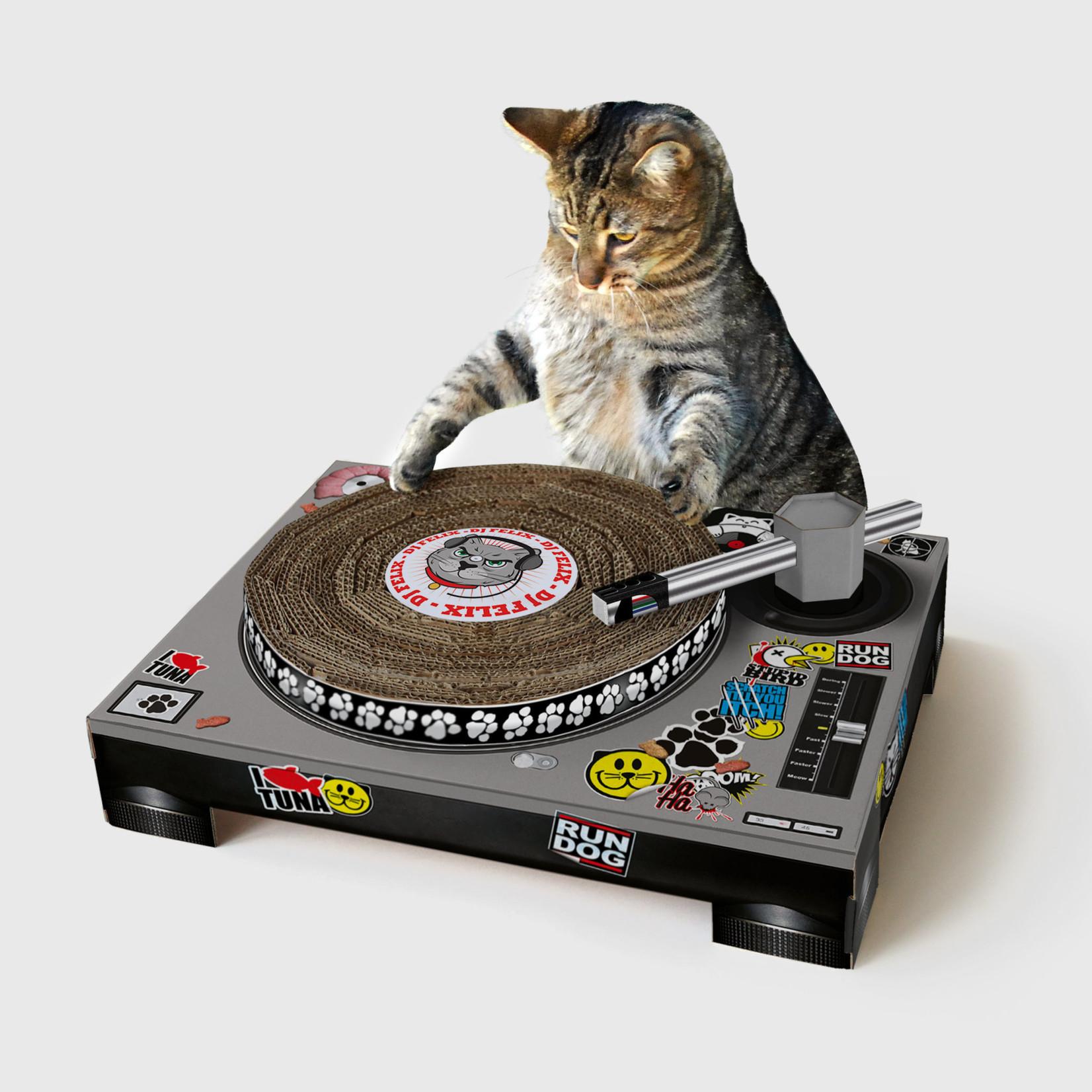 Cat DJ Scratching Turntable