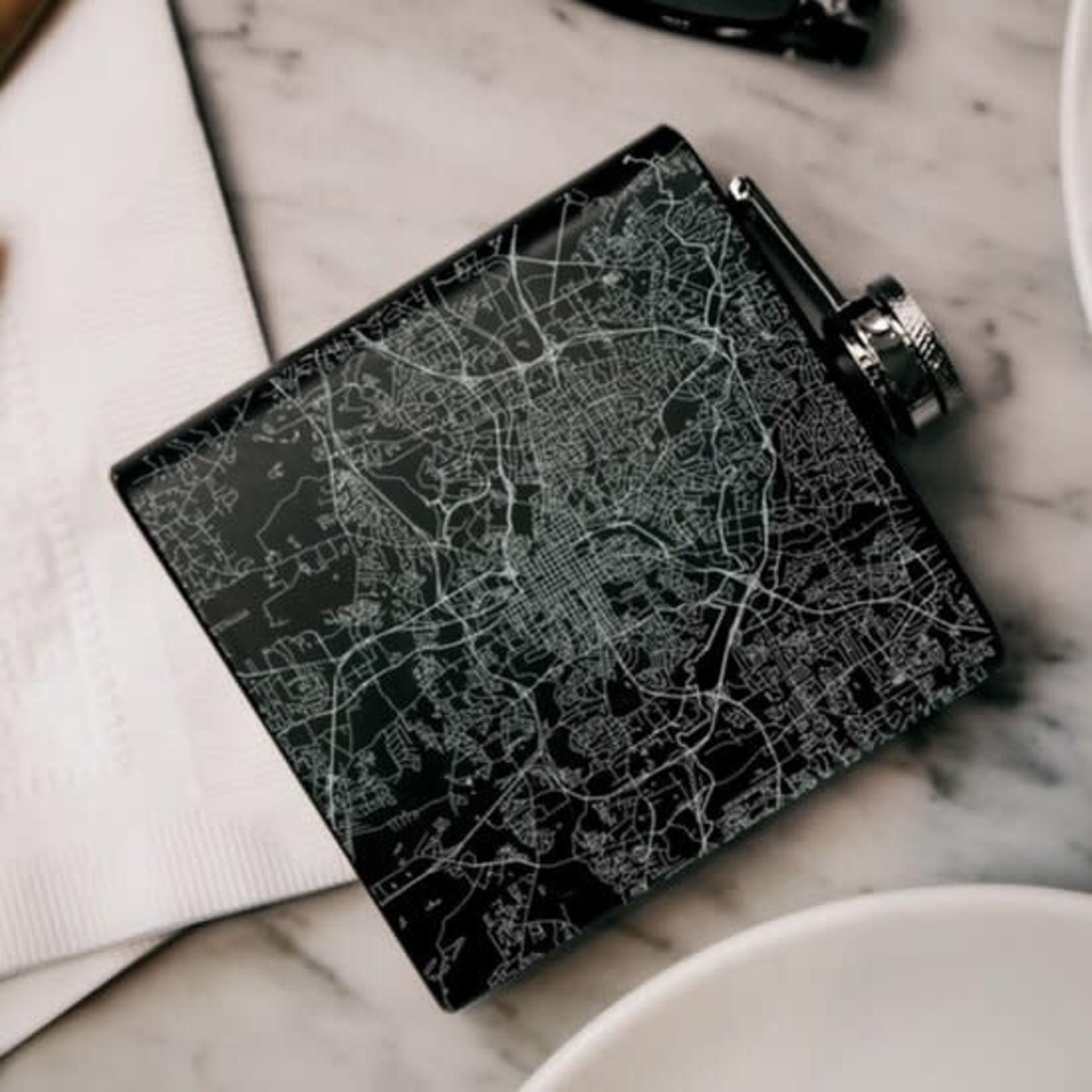Raleigh Map Engraved Drinkware Hip Flask 6 oz