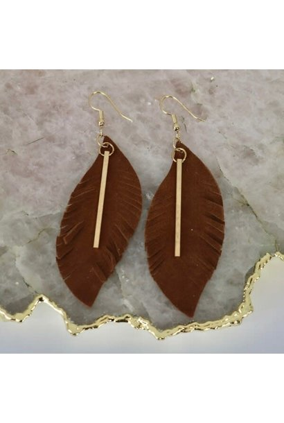 Earrings: Brown Suede Gold Bar