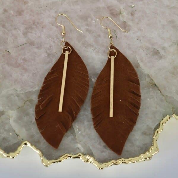 Earrings: Brown Suede Gold Bar-1