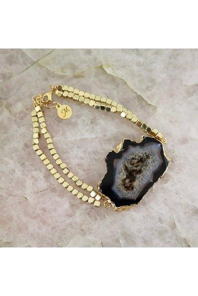 Dusk Bracelet - Gold with Black Geode