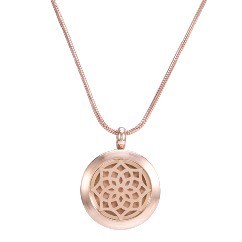 Blossom Rose Gold Aromatherapy Necklace-1