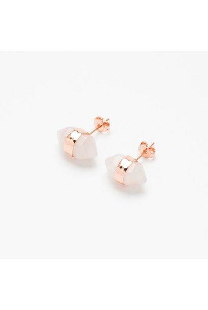 Rose Quartz Gemstone Ear Stud
