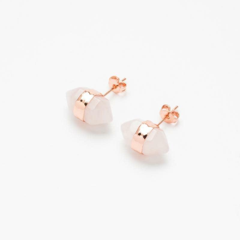 Rose Quartz Gemstone Ear Stud-1