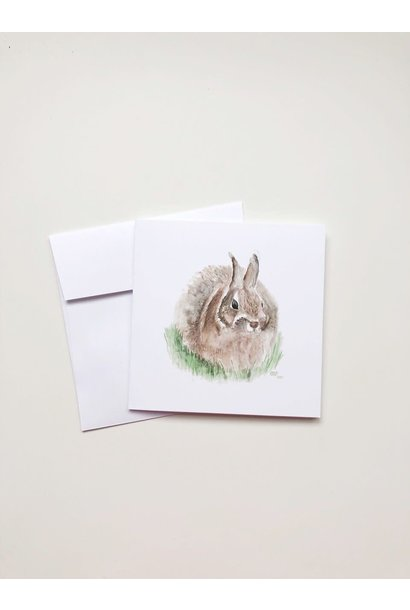 Watercolour Bunny (5x5 Card/Frameable Art Print)