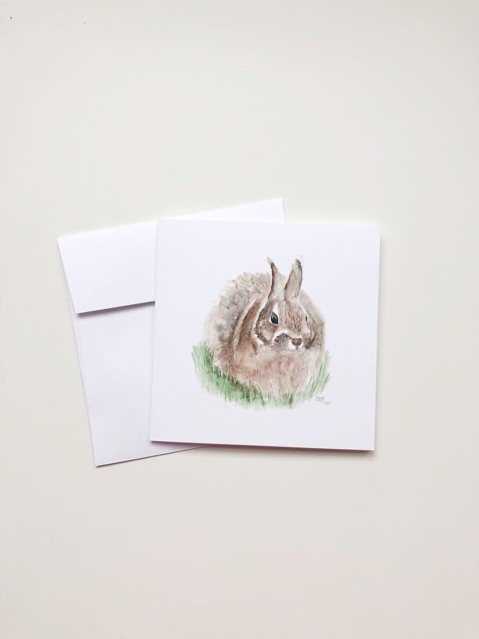 Watercolour Bunny (5x5 Card/Frameable Art Print)-1