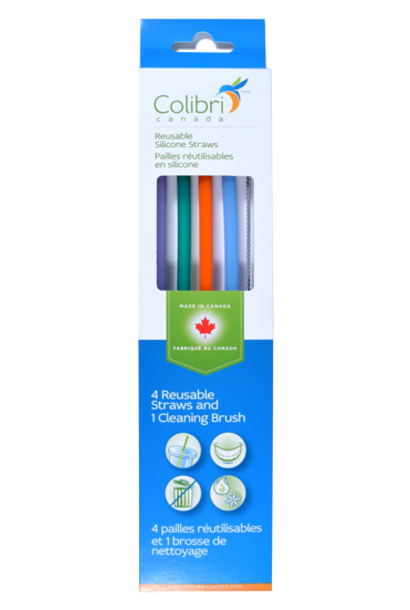 Reusable Silicone Straw (4pk + cleaner)