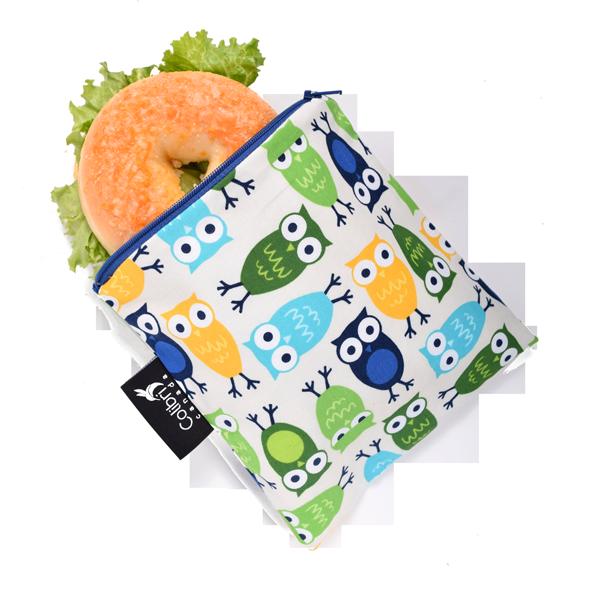Owls Reusable Snack Bag (large)-1