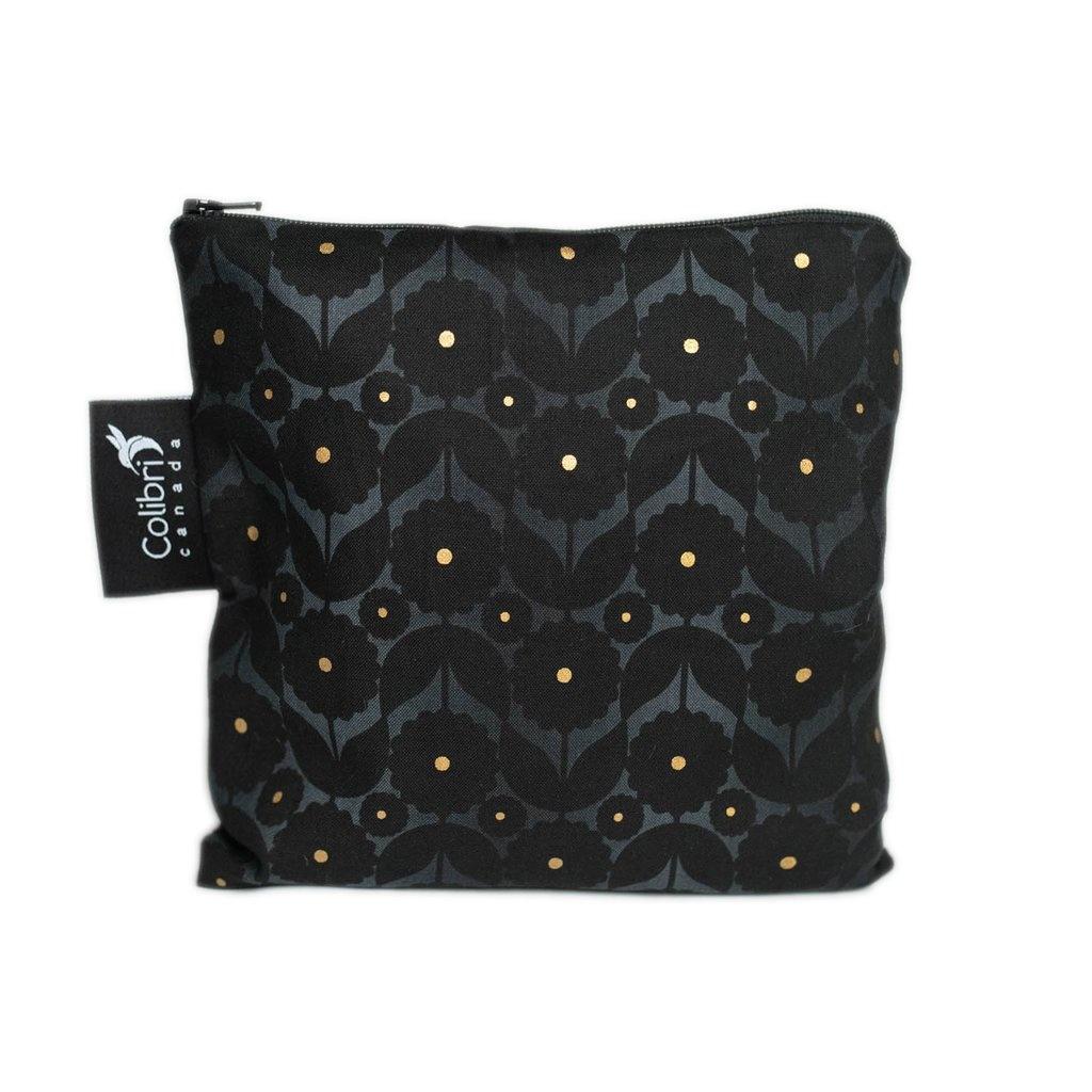 Midnight Flower Reusable Snack Bag (large)-1