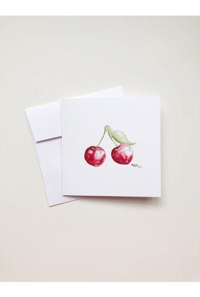 Watercolour Cherries (5x5 Card/Frameable Art Print)